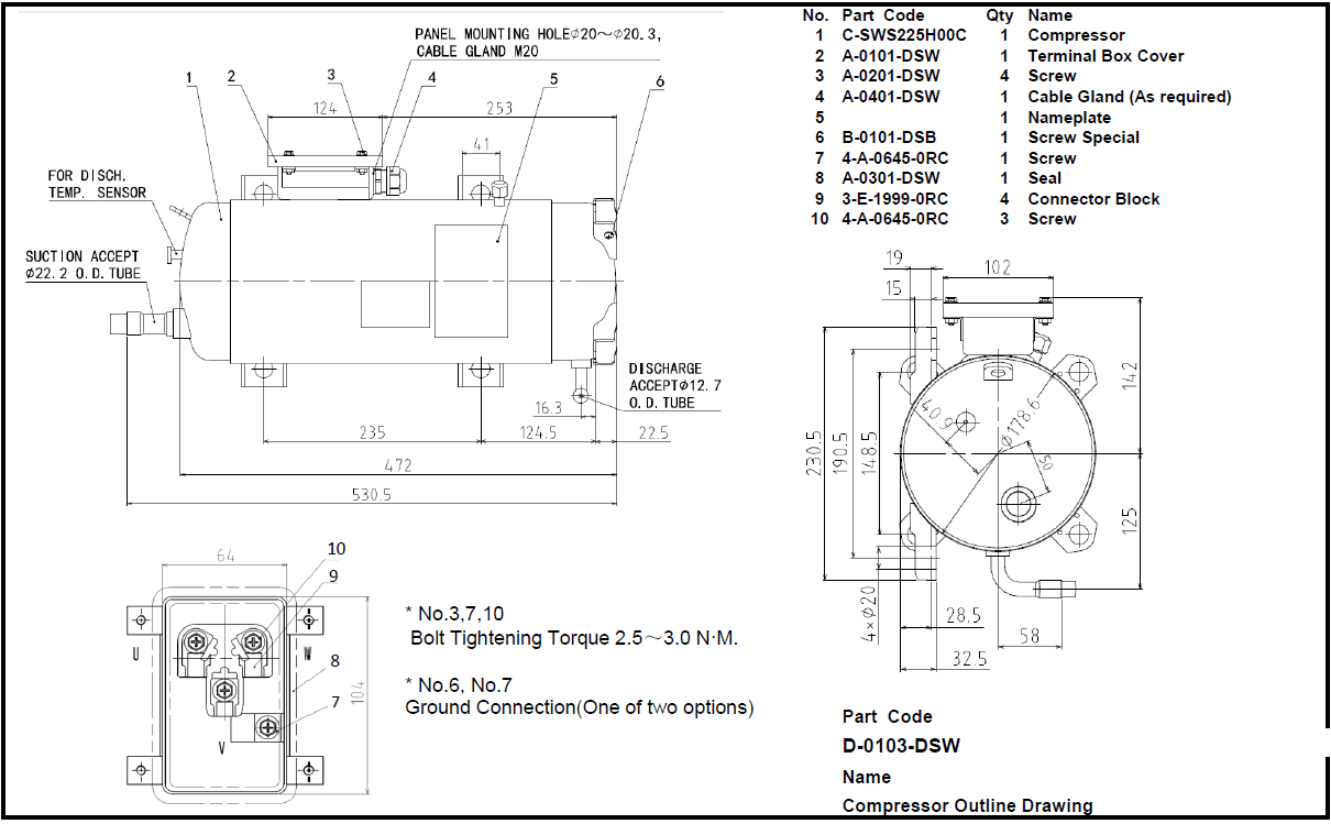 C-SWS225H00 Tecnical drawing