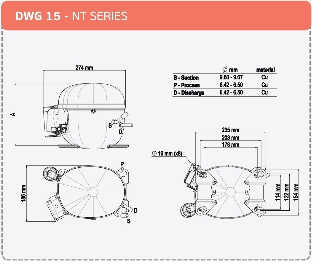 Compressor Hermetic Piston Nt6217z